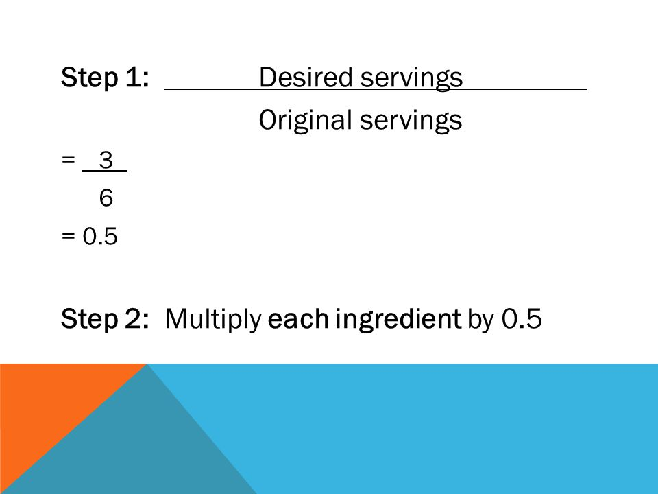 Step 1: Desired servings Original servings