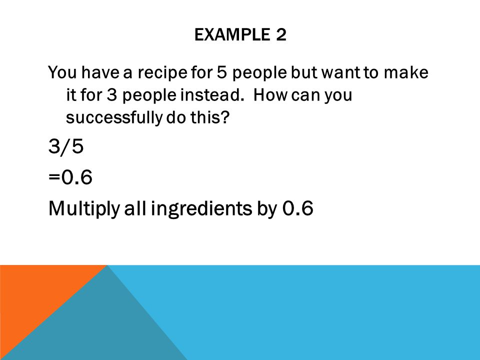 Multiply all ingredients by 0.6