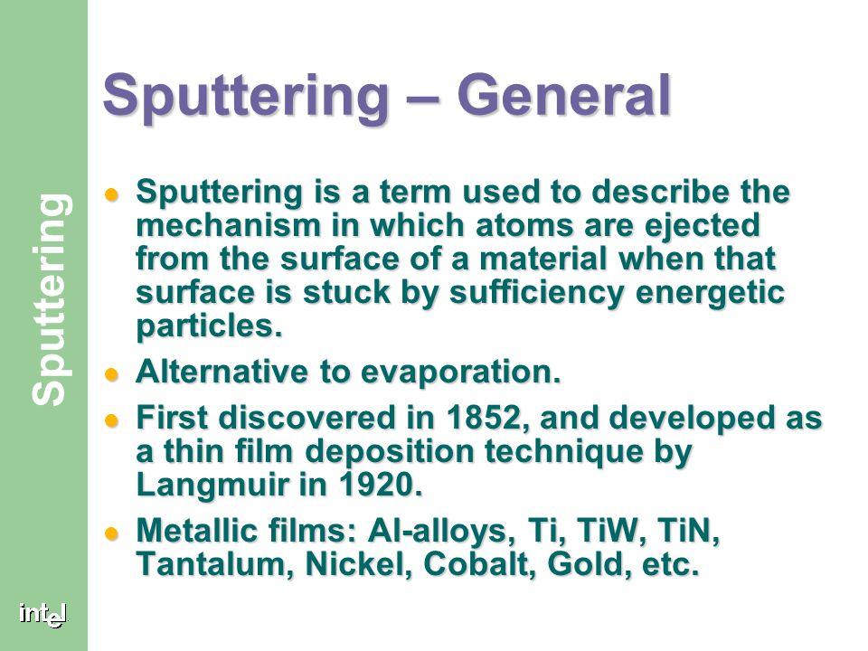 Sputtering – General