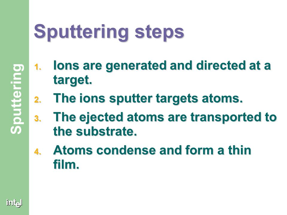 Sputtering steps Ions are generated and directed at a target.