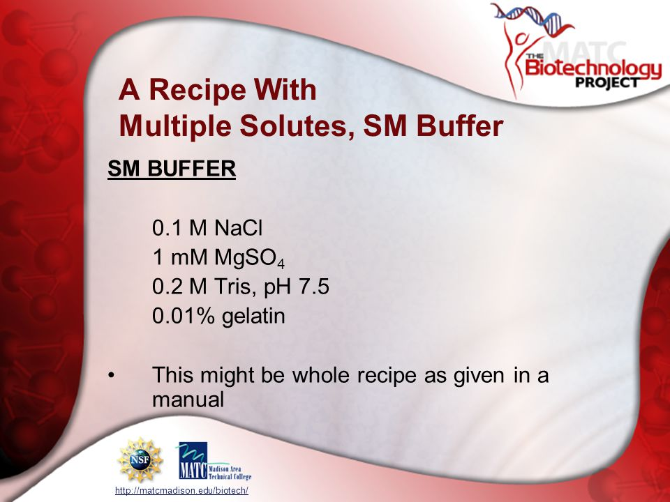 A Recipe With Multiple Solutes, SM Buffer