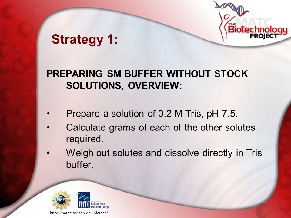 Strategy 1: PREPARING SM BUFFER WITHOUT STOCK SOLUTIONS, OVERVIEW: