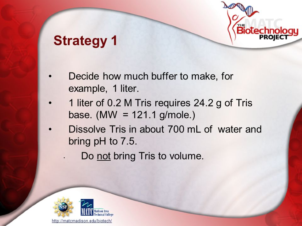 Strategy 1 Decide how much buffer to make, for example, 1 liter.
