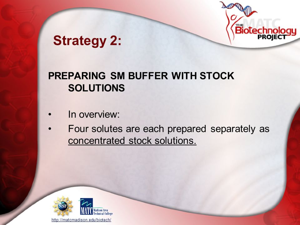 Strategy 2: PREPARING SM BUFFER WITH STOCK SOLUTIONS In overview: