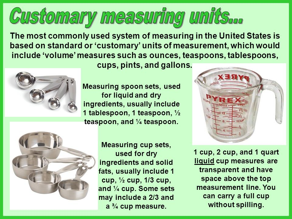 Customary measuring units...