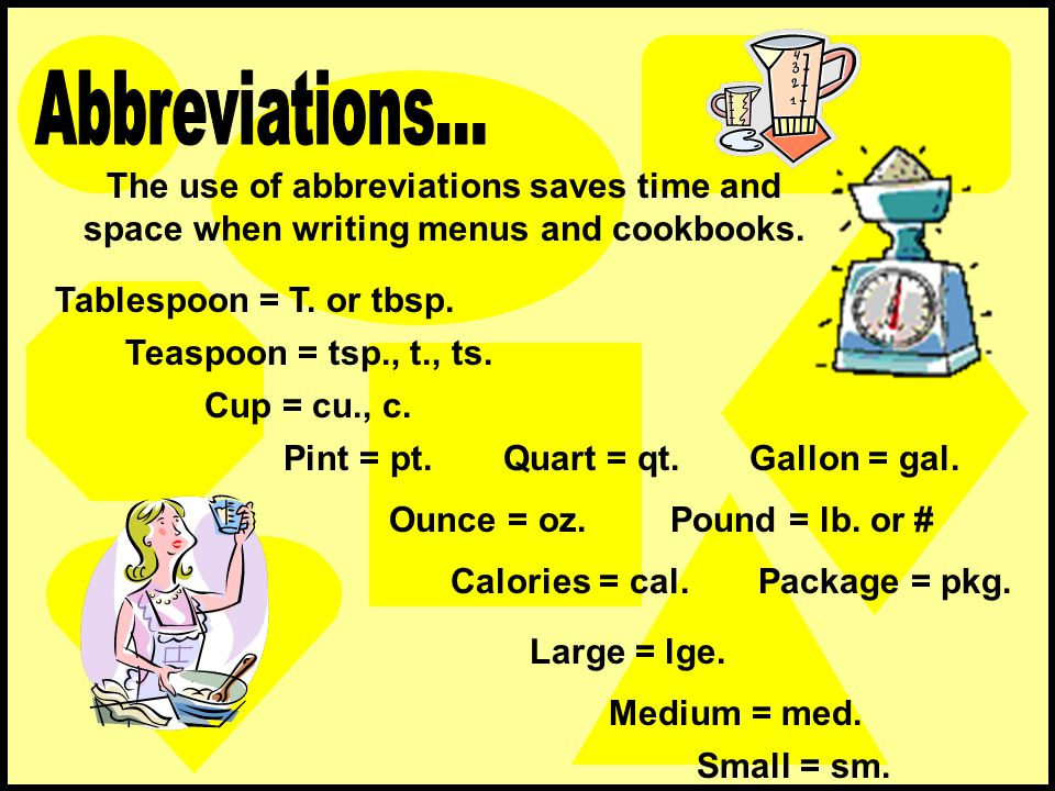 Abbreviations... The use of abbreviations saves time and space when writing menus and cookbooks. Tablespoon = T. or tbsp.