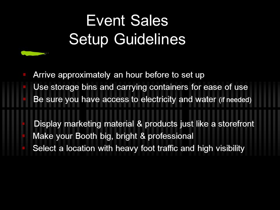 Event Sales Setup Guidelines