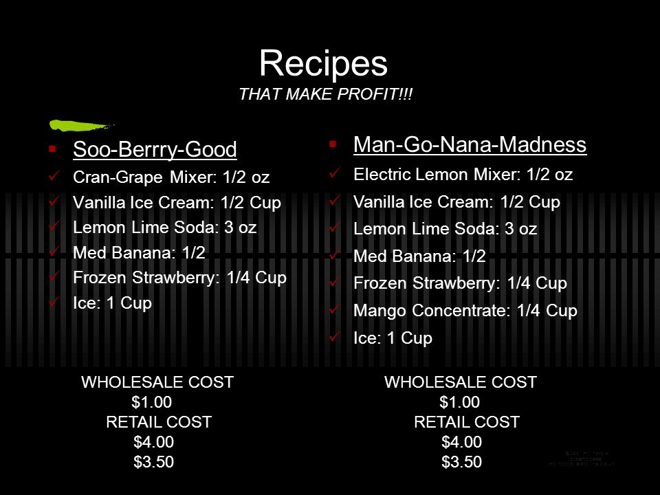 Recipes THAT MAKE PROFIT!!!