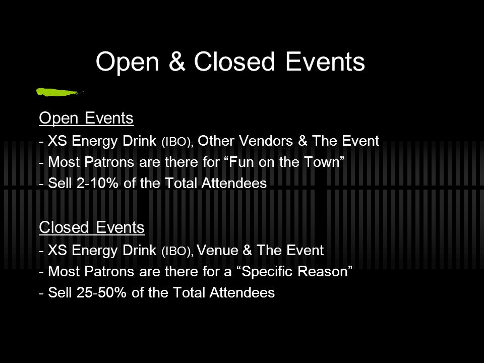 Open & Closed Events Open Events Closed Events