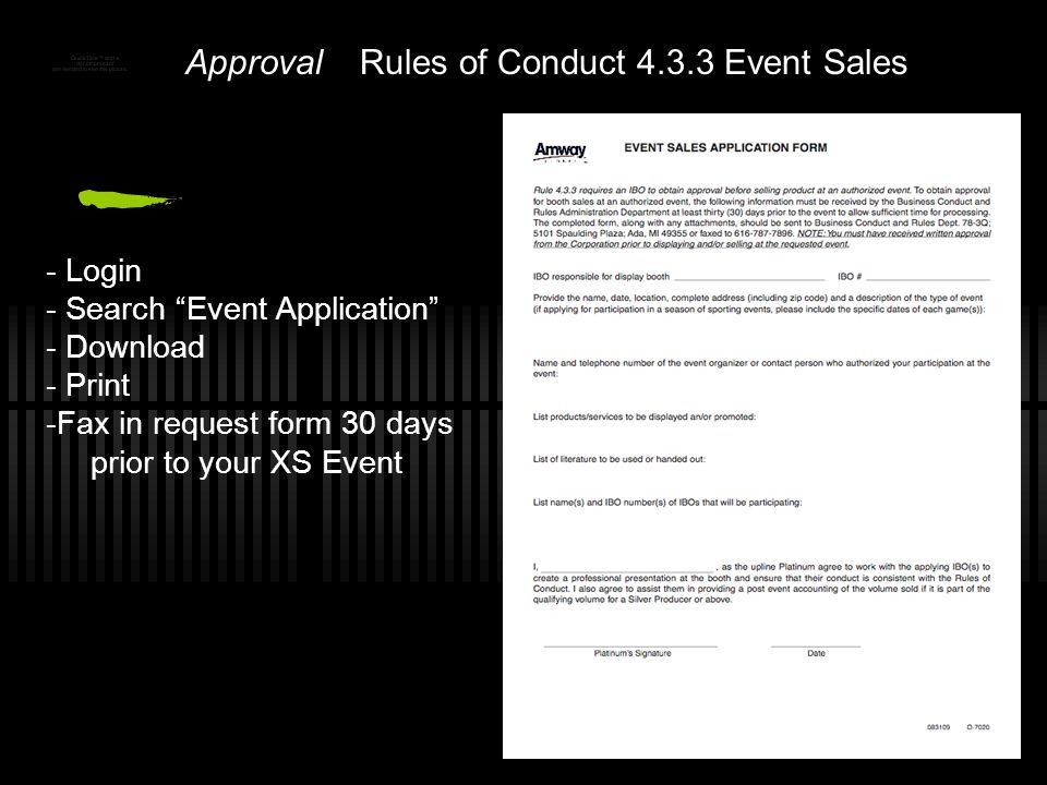 Rules of Conduct 4.3.3 Event Sales