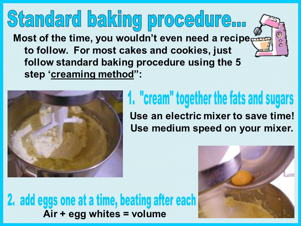 Use an electric mixer to save time! Use medium speed on your mixer.