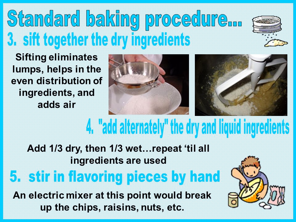 Add 1/3 dry, then 1/3 wet…repeat 'til all ingredients are used
