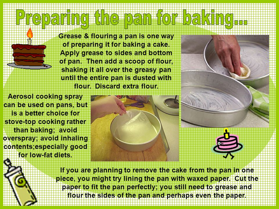 Preparing the pan for baking...