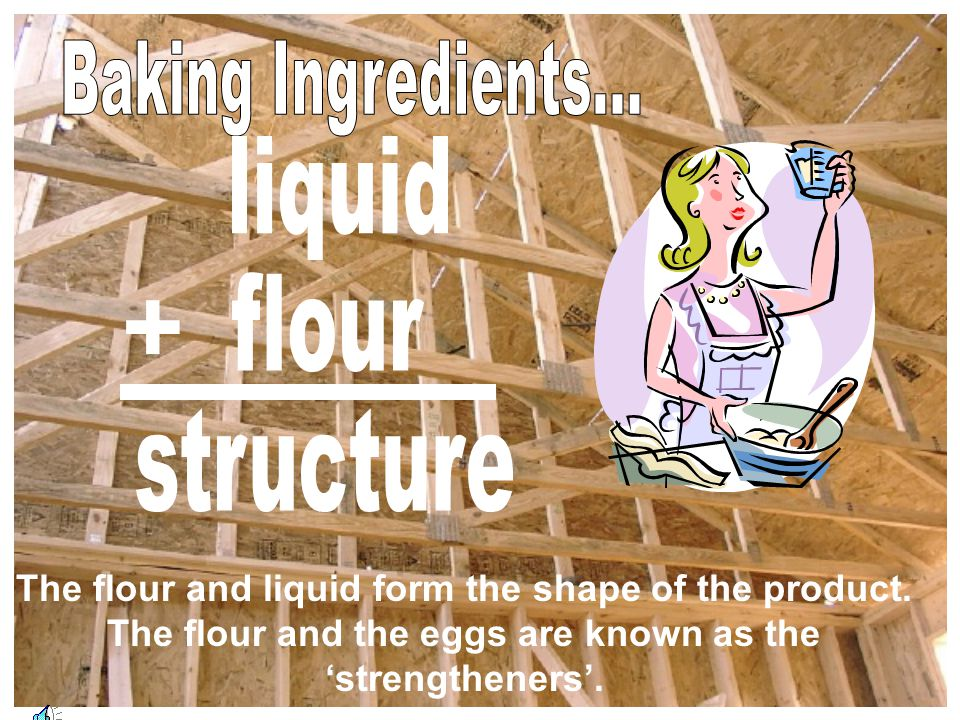 + Baking Ingredients... liquid flour structure