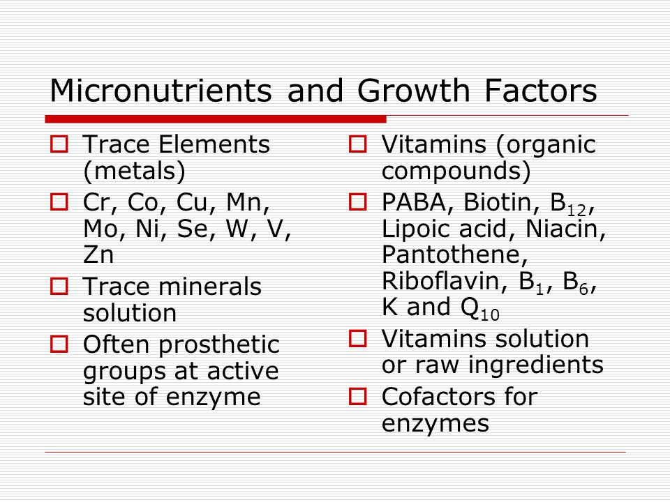 Micronutrients and Growth Factors