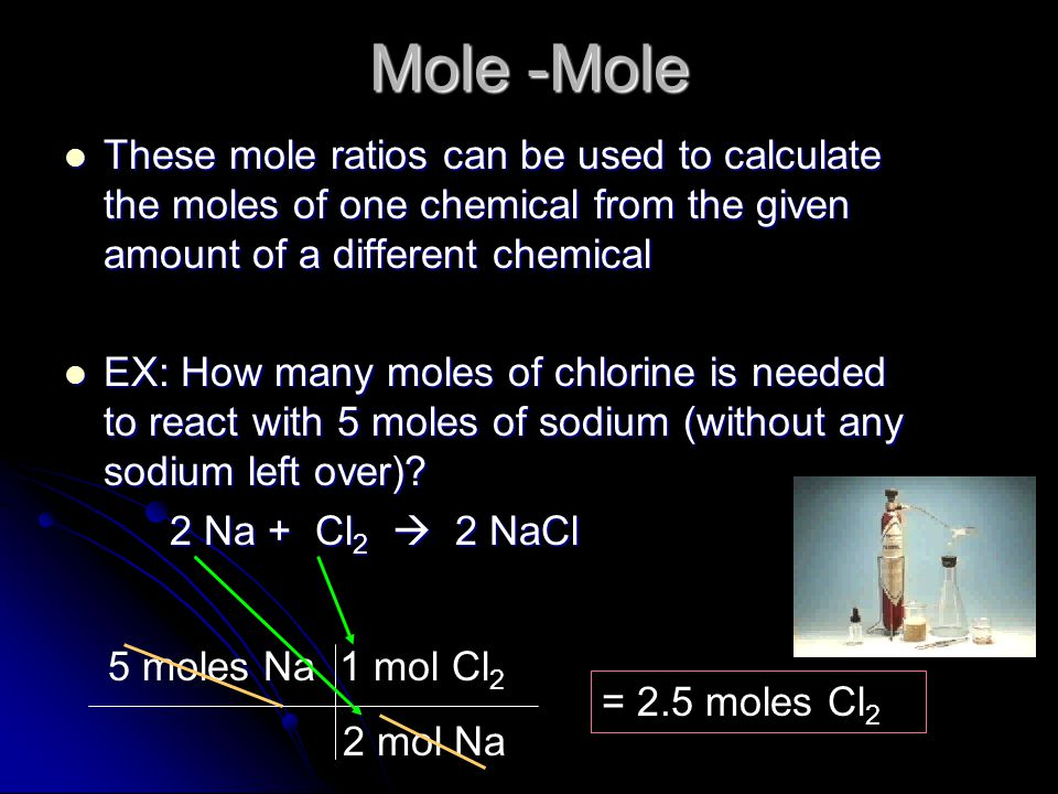 Mole -Mole These mole ratios can be used to calculate the moles of one chemical from the given amount of a different chemical.