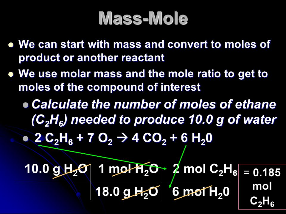 Mass-Mole We can start with mass and convert to moles of product or another reactant.