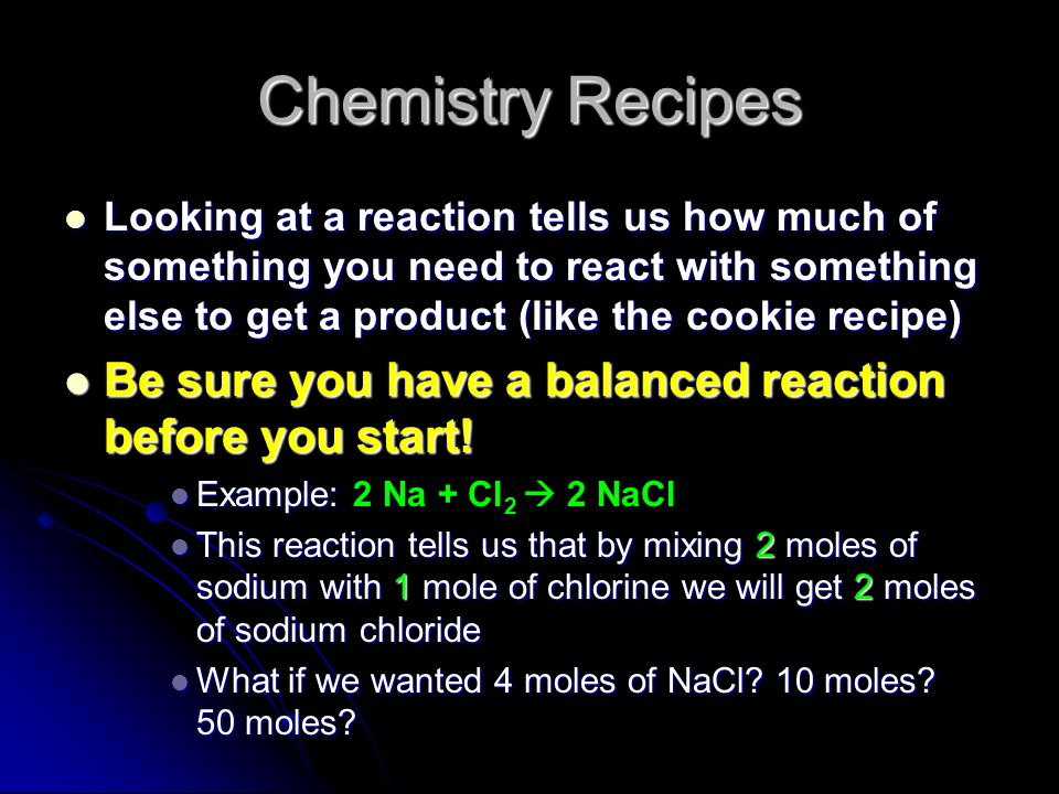 Chemistry Recipes