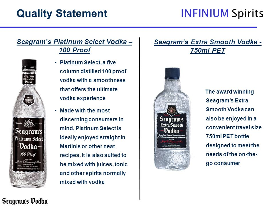 Quality Statement Seagram's Platinum Select Vodka – 100 Proof