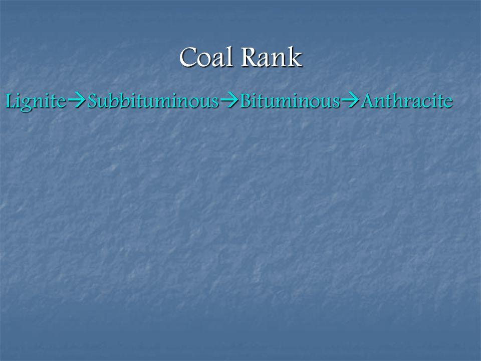 Coal Rank LigniteSubbituminousBituminousAnthracite