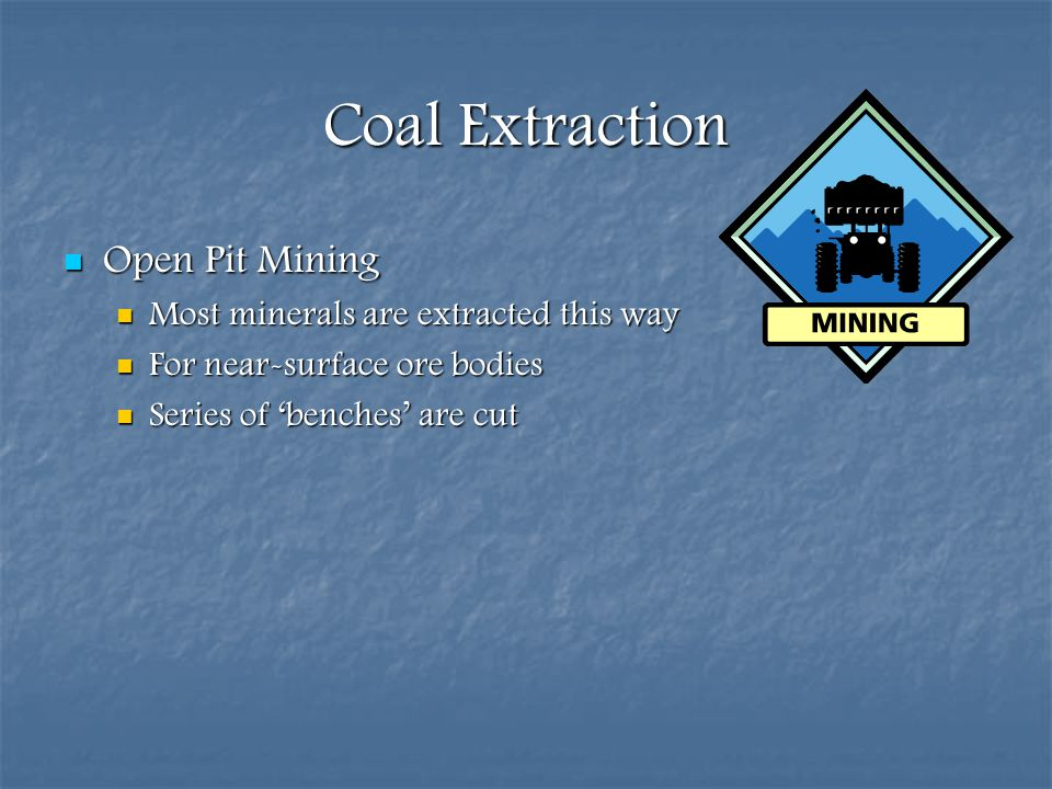 Coal Extraction Open Pit Mining Most minerals are extracted this way