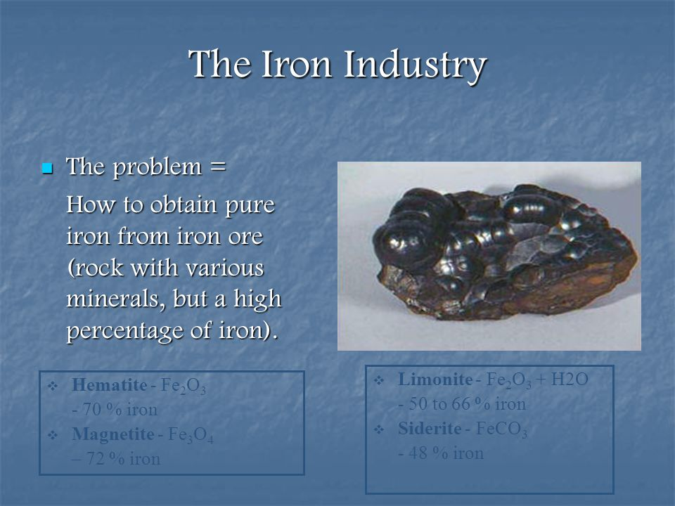 The Iron Industry The problem =