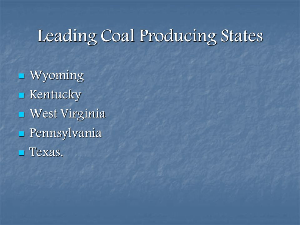 Leading Coal Producing States