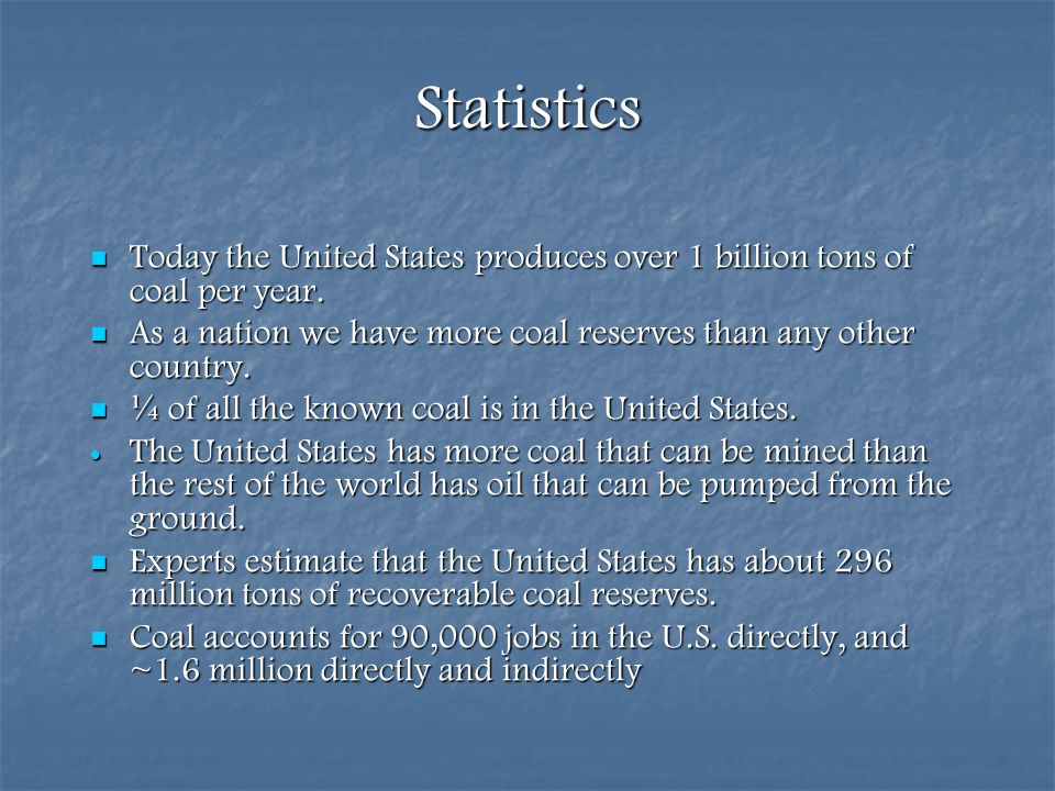 Statistics Today the United States produces over 1 billion tons of coal per year. As a nation we have more coal reserves than any other country.