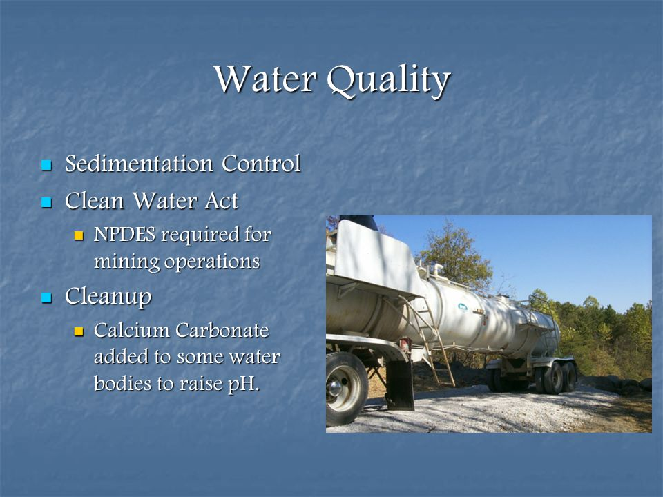 Water Quality Sedimentation Control Clean Water Act Cleanup