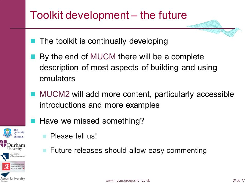 Toolkit development – the future