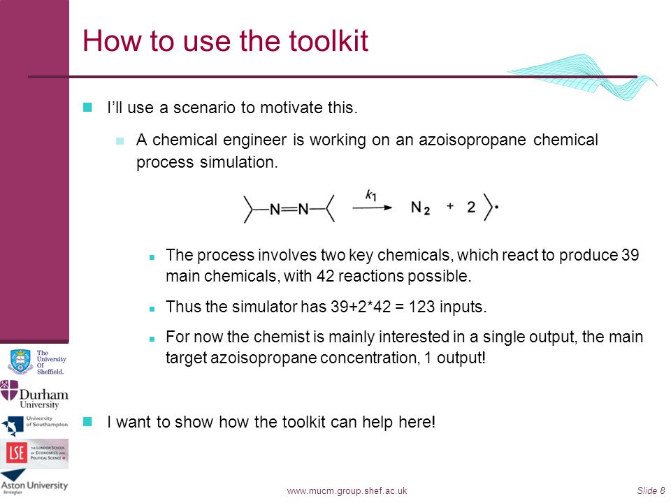 How to use the toolkit I'll use a scenario to motivate this.