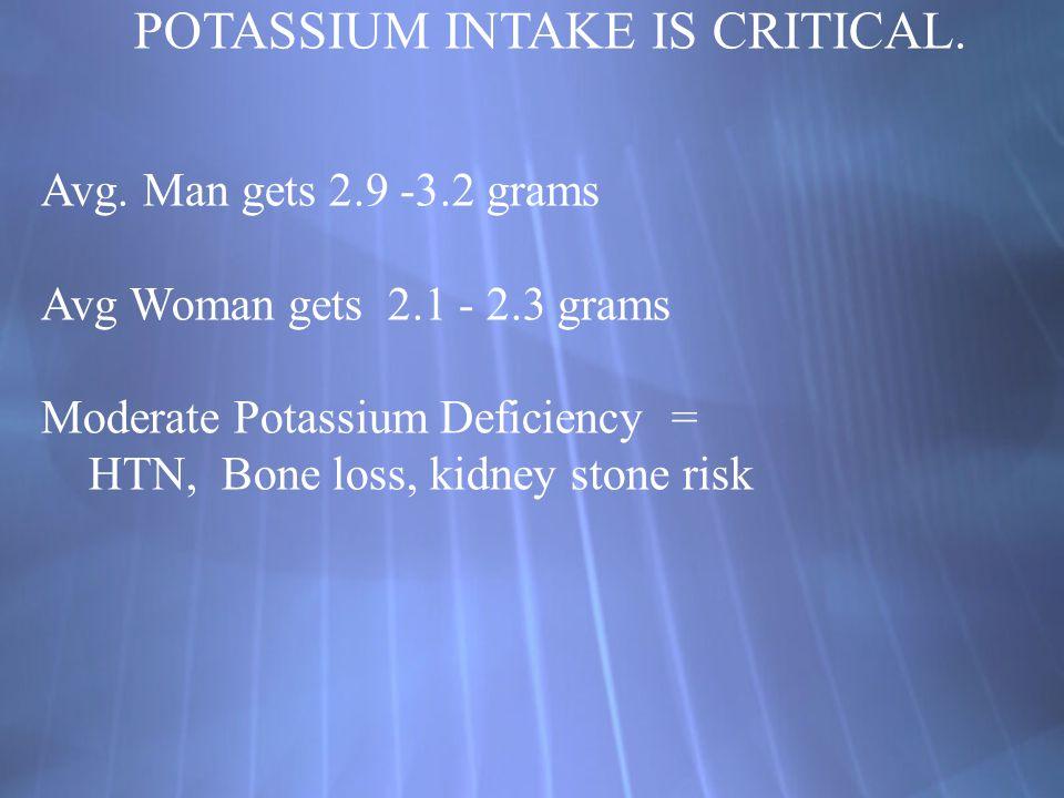 POTASSIUM INTAKE IS CRITICAL.