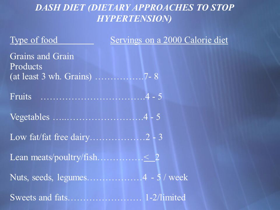 DASH DIET (DIETARY APPROACHES TO STOP HYPERTENSION)
