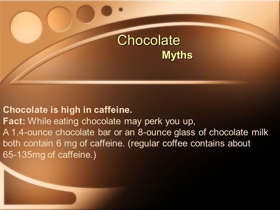 Chocolate Myths Chocolate is high in caffeine.