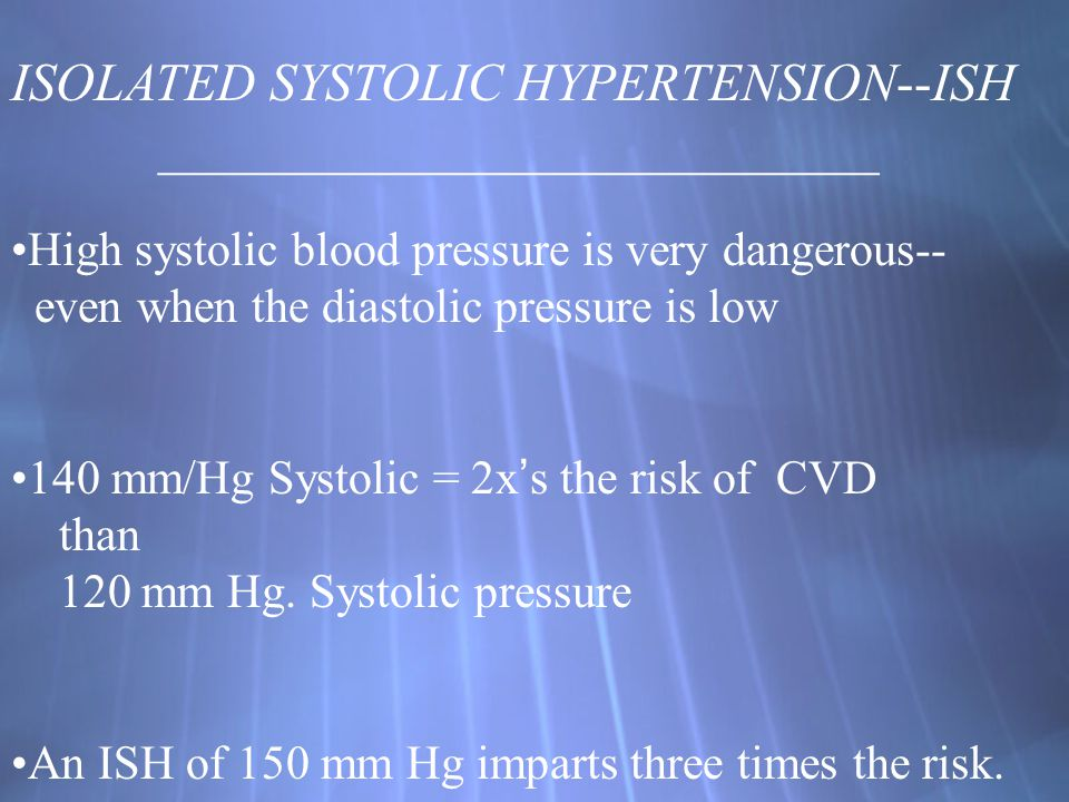 ISOLATED SYSTOLIC HYPERTENSION--ISH ___________________________