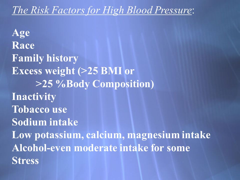 The Risk Factors for High Blood Pressure: