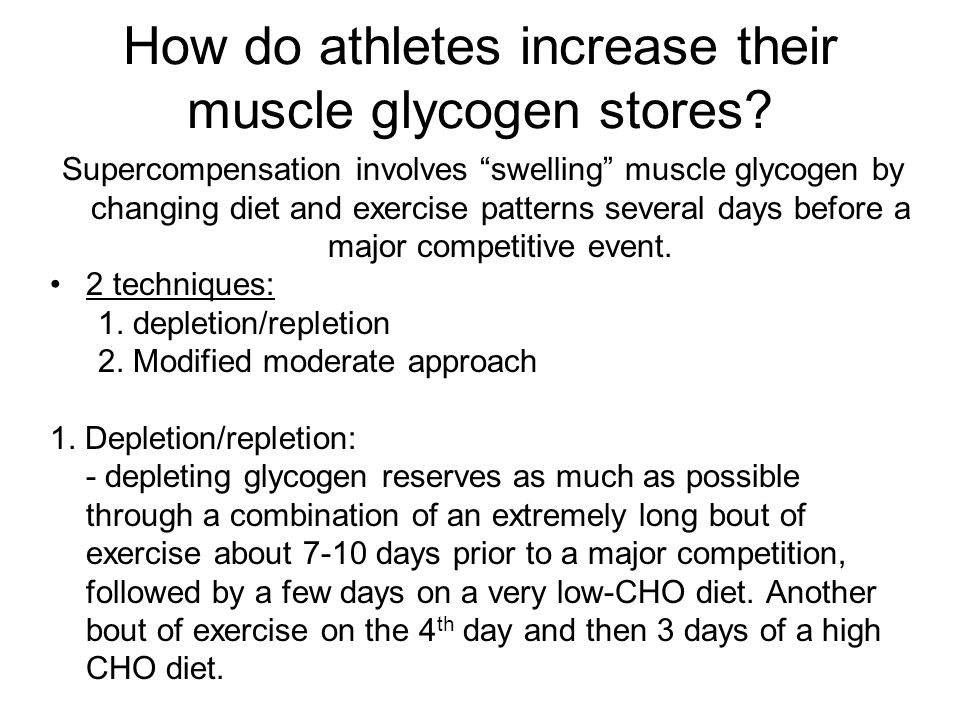 How do athletes increase their muscle glycogen stores
