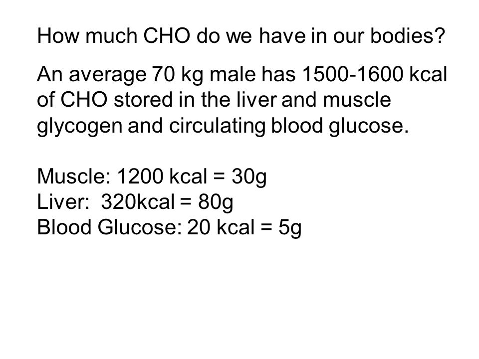 How much CHO do we have in our bodies