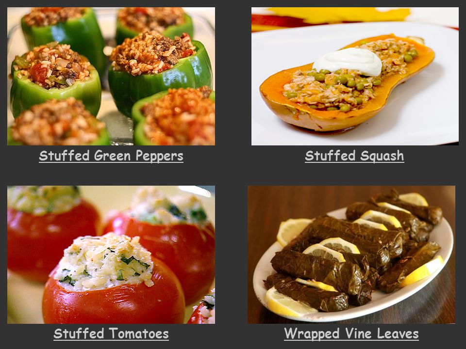 Stuffed Green Peppers Stuffed Squash Stuffed Tomatoes Wrapped Vine Leaves