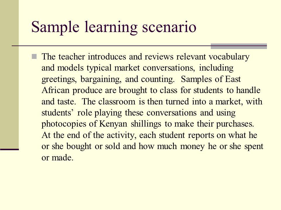 Sample learning scenario