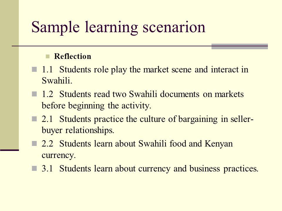 Sample learning scenarion