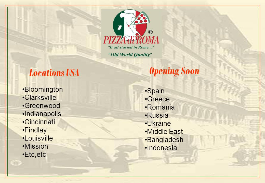 Opening Plans Pizza di Roma is planning to open around 75