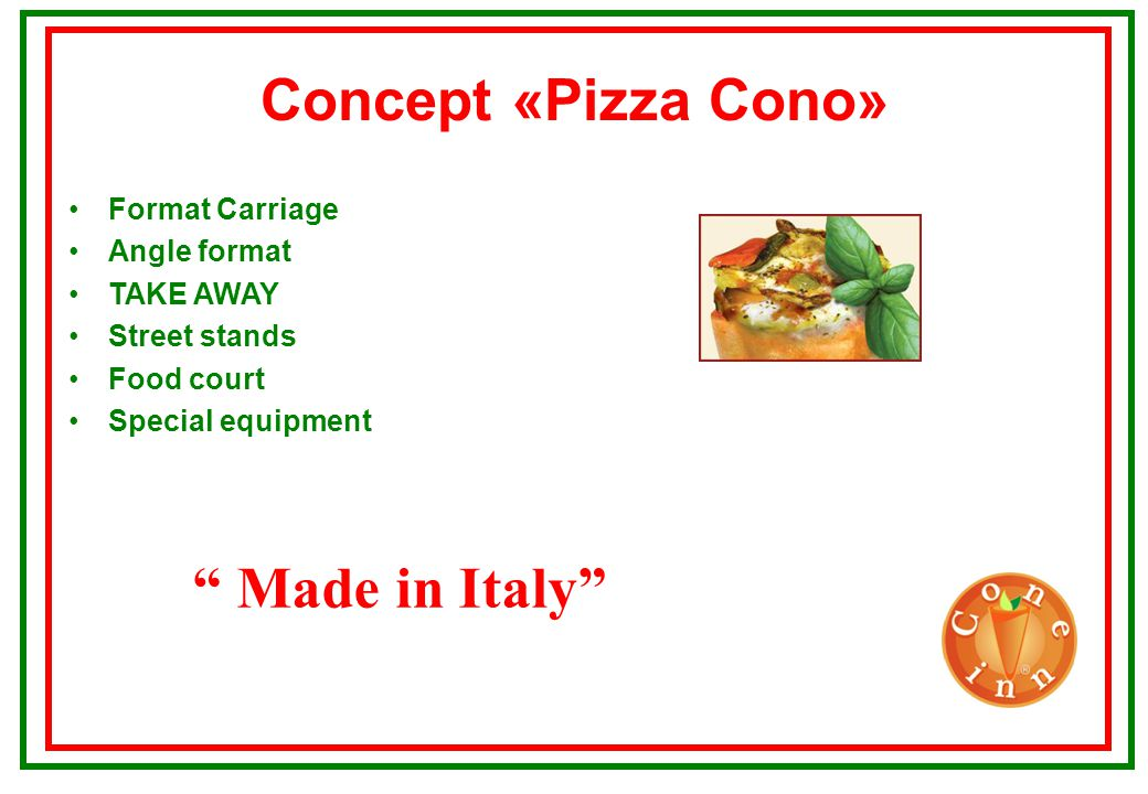 Format Carreta Made in Italy Assumed space:150X70