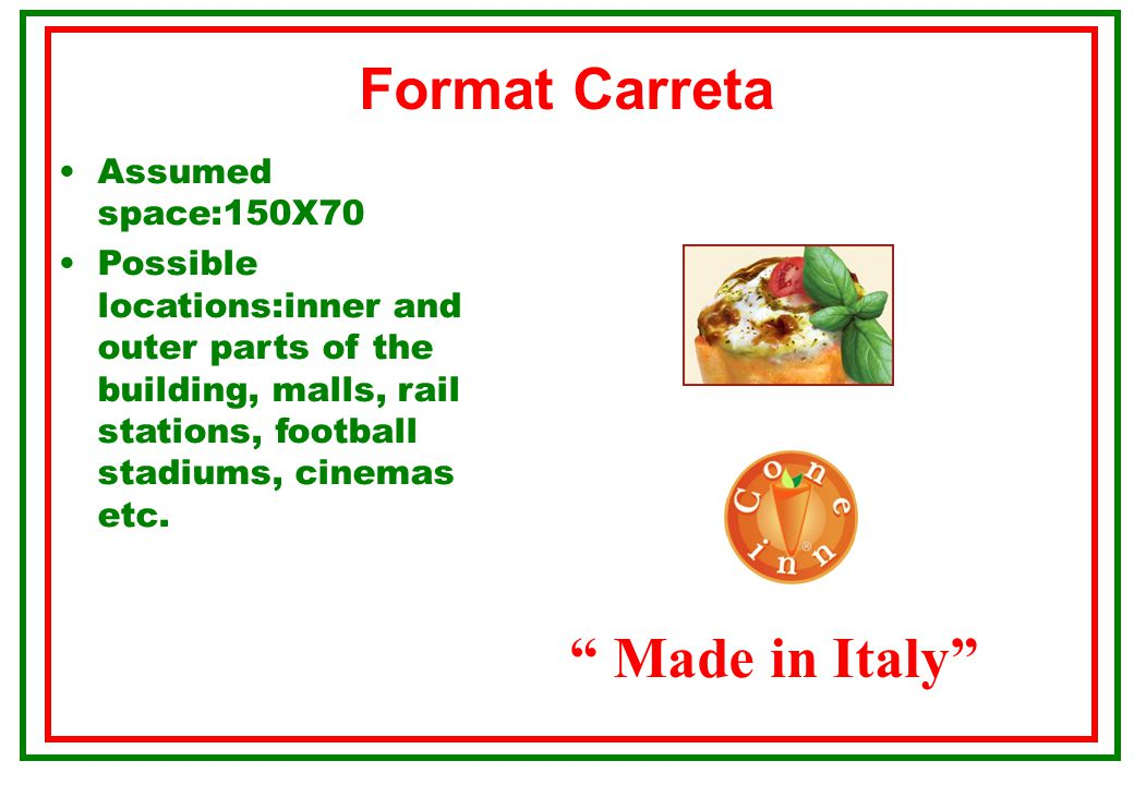Format carriage Made in Italy