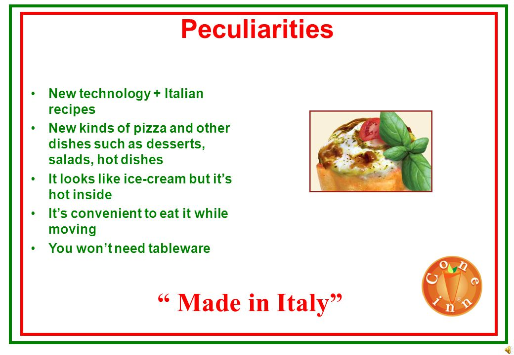 Advantages Made in Italy New business New Italian fast food