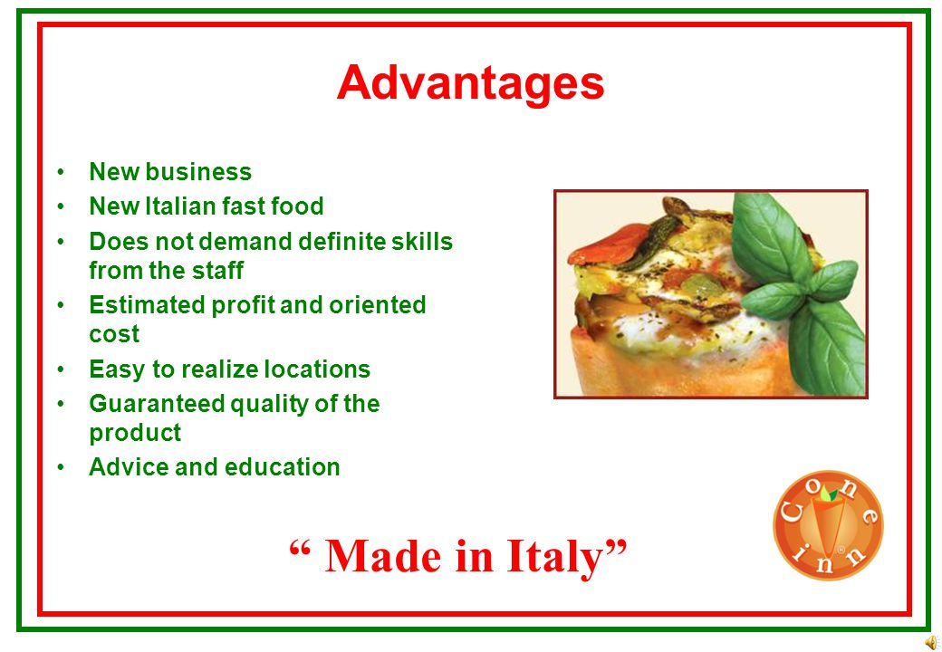 Facts Made in Italy Dish from Mediterranean cuisine No fat