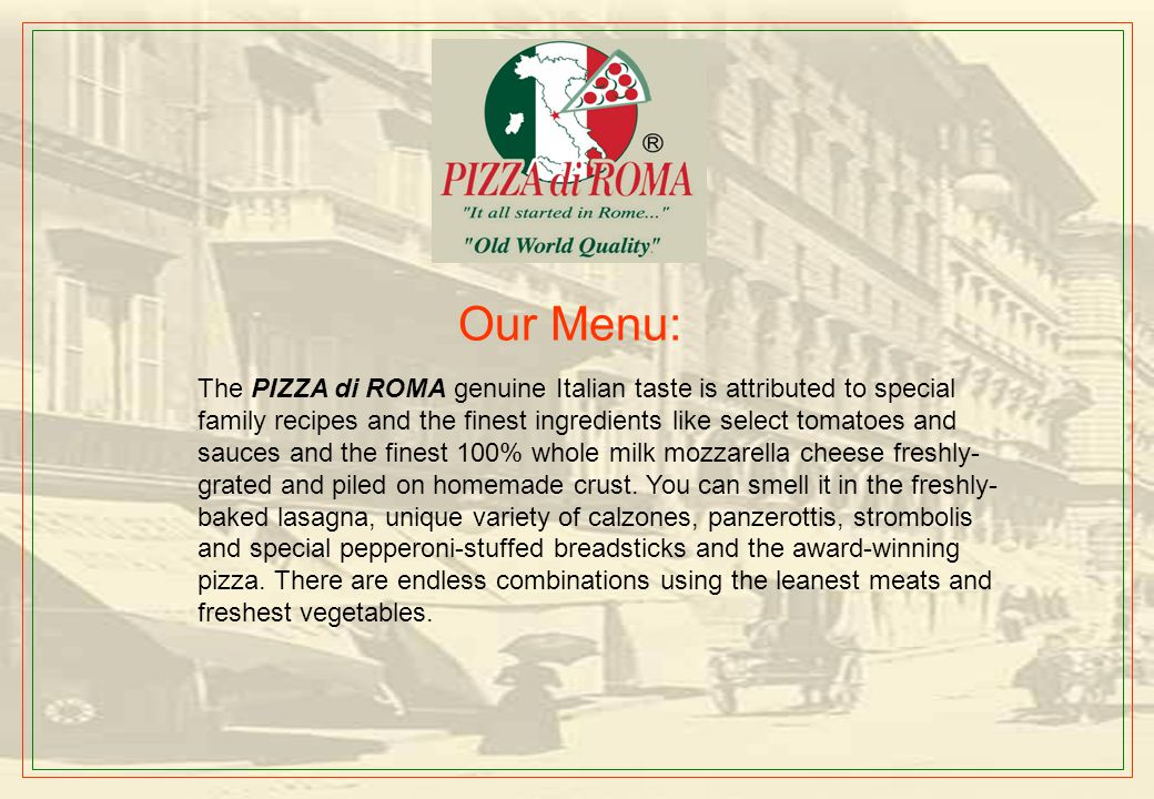 Our Pizzas Vegetarian Pizza Meat Lovers Pizza