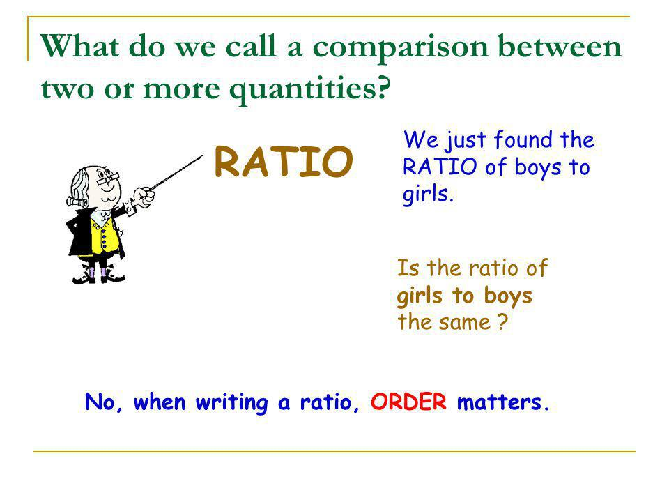 What do we call a comparison between two or more quantities