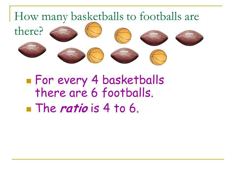 How many basketballs to footballs are there