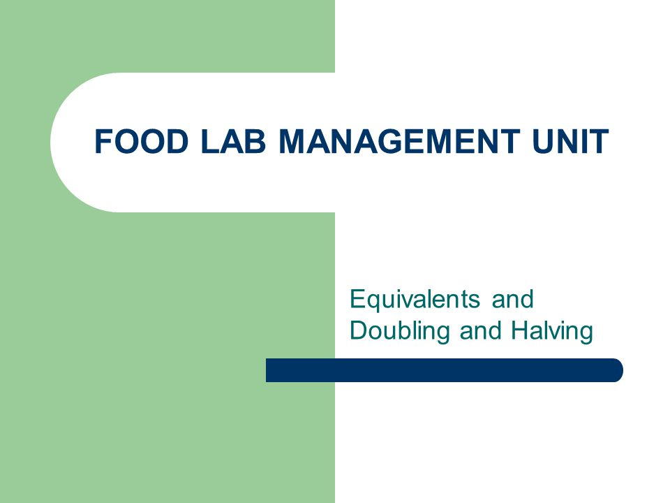 FOOD LAB MANAGEMENT UNIT